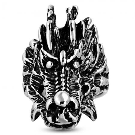 Inel Biker din otel inox cu dragon - Be Fantastic1