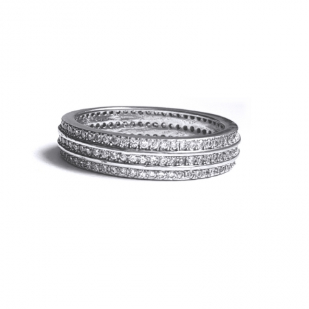 Inel din argint 925 cu trei randuri de zirconii INE676