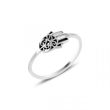 Inel din argint cu Mana lui Fatima (Hamsa)