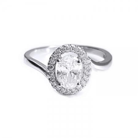 Inel elegant argint 925 rodiat cu zirconii