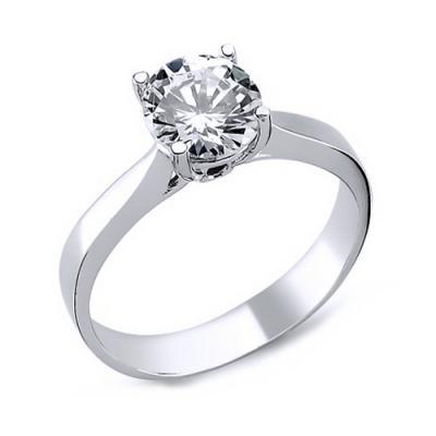 Inel elegant argint 925 rodiat cu zirconiu alb