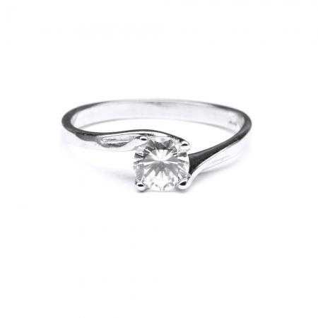 Inel elegant din argint 925 rodiat cu zirconiu rotund