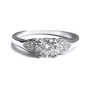 Inel argint 925 cu inimioare si zirconii albe [1]