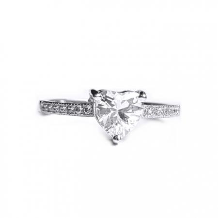 Inel elegant din argint 925 rodiat cu inimioara alba [0]