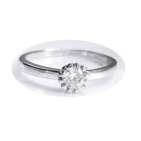 Inel floare din argint 925 rodiat cu zirconiu alb