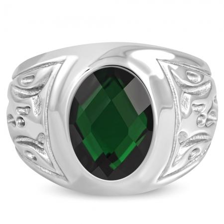 Inel inox cu piatra verde ovala ISL10751