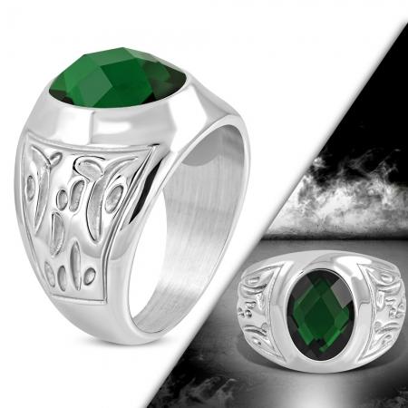 Inel inox cu piatra verde ovala ISL1075