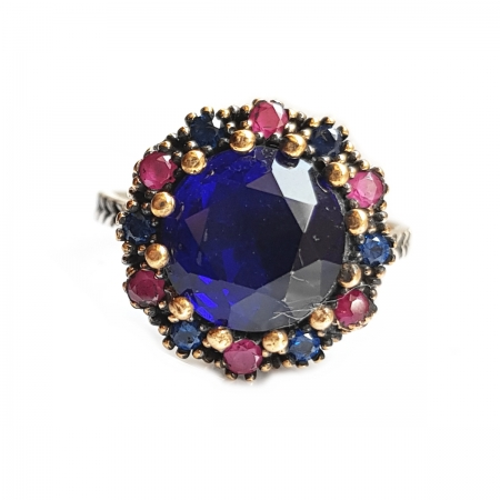 Inel din argint 925 cu zirconii albastre INE0785