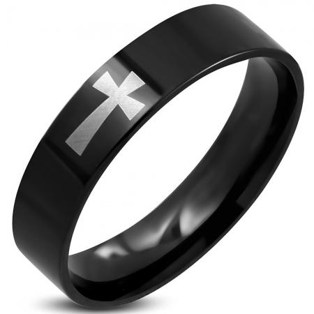 Inel negru din inox decorat cu cruce