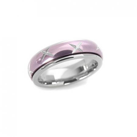 Inel inox roz antistres cu cruciulite - stelute1