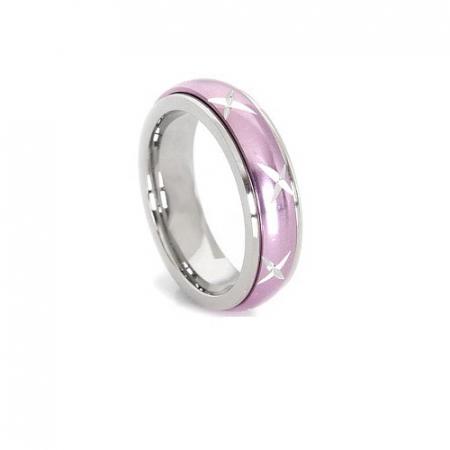 Inel inox roz antistres cu cruciulite - stelute