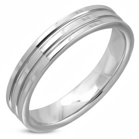 Inel inox argintiu cu striatii ISL0971