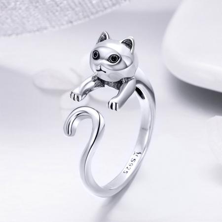 Inel reglabil argint 925 cu pisicuta - Be Nature IST00601