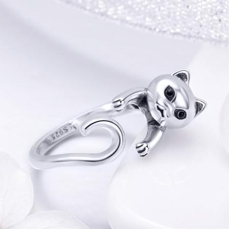 Inel reglabil argint 925 cu pisicuta - Be Nature IST00603