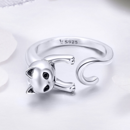 Inel reglabil argint 925 cu pisicuta - Be Nature IST00602
