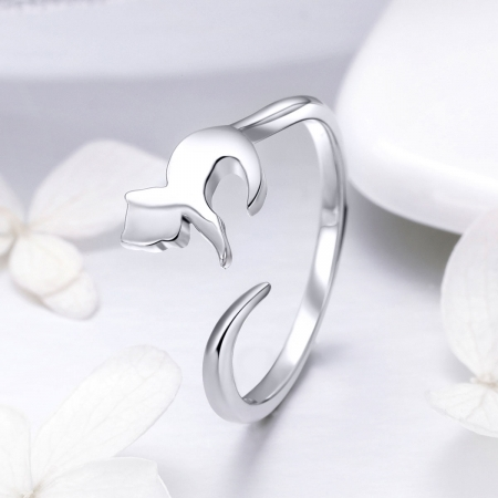 Inel reglabil argint 925 cu pisicuta - Be Nature IST00631