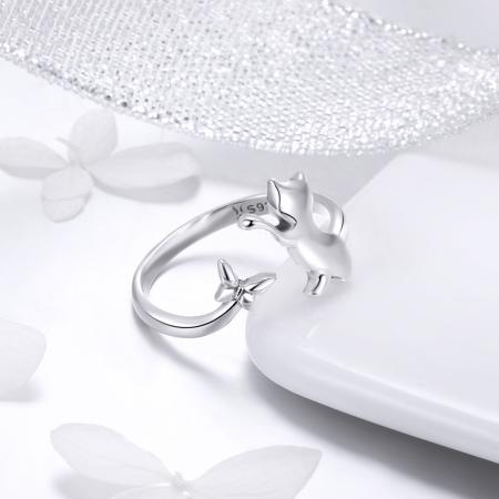 Inel reglabil argint 925 cu pisicuta si fluturas - Be Nature IST0066 [2]