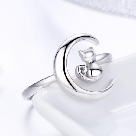 Inel reglabil argint 925 rodiat cu semiluna si pisicuta - Be Nature IST00693