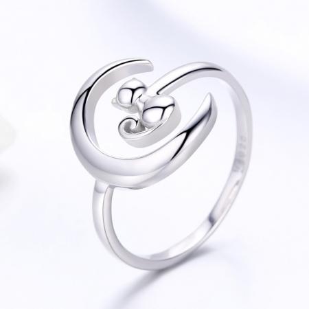 Inel reglabil argint 925 rodiat cu semiluna si pisicuta - Be Nature IST00691
