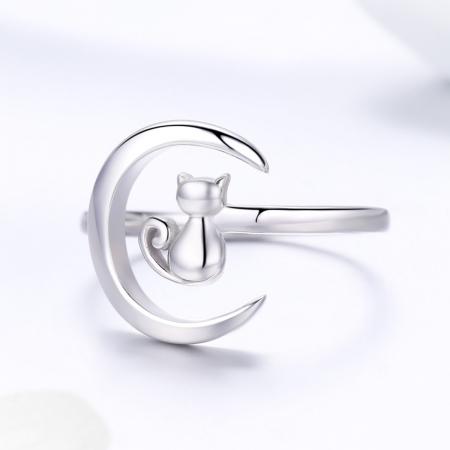 Inel reglabil argint 925 rodiat cu semiluna si pisicuta - Be Nature IST00692