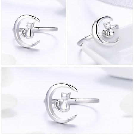 Inel reglabil argint 925 rodiat cu semiluna si pisicuta - Be Nature IST00695