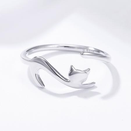 Inel reglabil argint 925 rodiat cu pisicuta haioasa - Be Nature IST00791