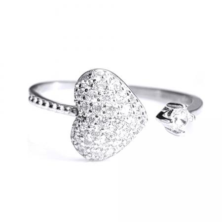 Inel reglabil argint 925 rodiat inimioara cu zirconii albe INE07990