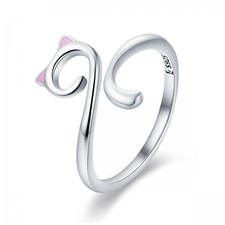 Inel reglabil argint 925 rodiat pisicuta cu urechiuse roz- Be Nature IST0049