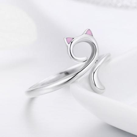 Inel reglabil argint 925 rodiat pisicuta cu urechiuse roz- Be Nature IST00494
