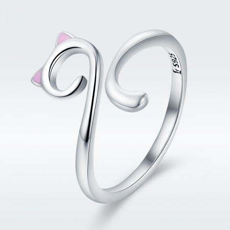 Inel reglabil argint 925 rodiat pisicuta cu urechiuse roz- Be Nature IST00492