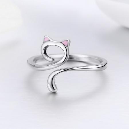 Inel reglabil argint 925 rodiat pisicuta cu urechiuse roz- Be Nature IST00491