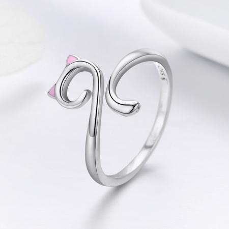 Inel reglabil argint 925 rodiat pisicuta cu urechiuse roz- Be Nature IST00493