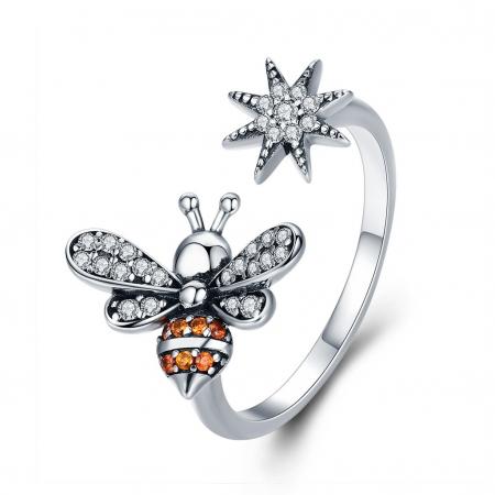 Inel reglabil argint cu albinuta si floare