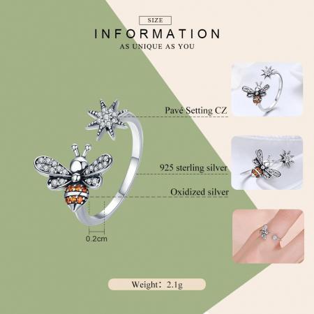 Inel reglabil argint cu albinuta si floare1