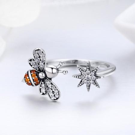 Inel reglabil argint cu albinuta si floare5