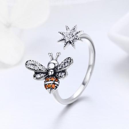 Inel reglabil argint cu albinuta si floare3