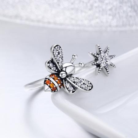 Inel reglabil argint cu albinuta si floare4