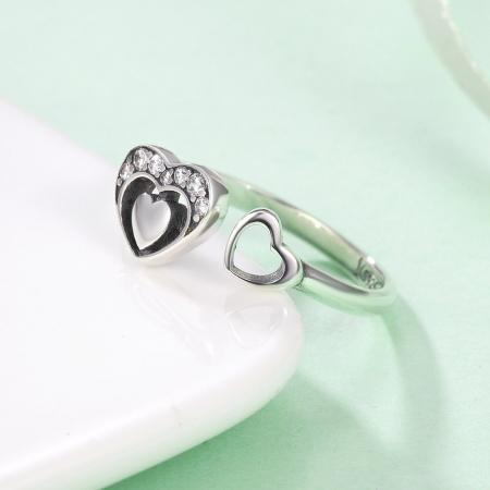 Inel reglabil argint cu inimioare 4
