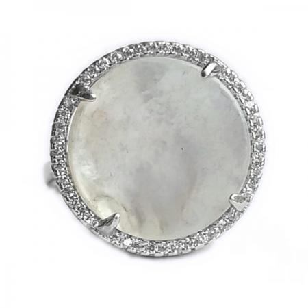 Inel reglabil din argint 925 elegant cu sidef si zirconii albe - INE0538