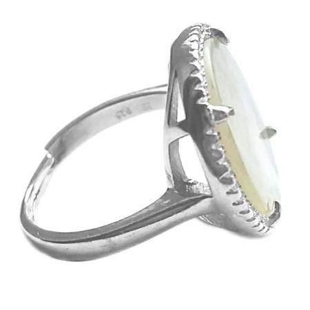 Inel reglabil din argint 925 elegant cu sidef si zirconii albe - INE05381