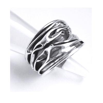 Inel reglabil din argint 925 model scoarta de copac INE0008