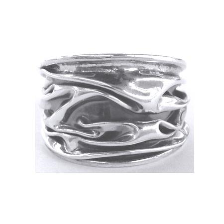 Inel reglabil din argint 925 model scoarta de copac INE00082