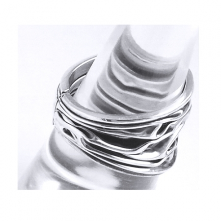 Inel reglabil din argint 925 model scoarta de copac INE00081