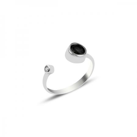 Inel reglabil din argint cu zirconiu negru