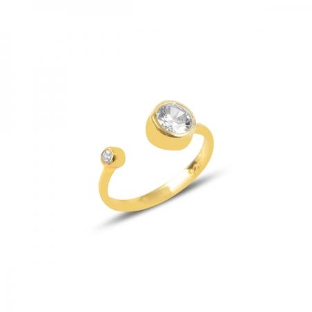 Inel reglabil din argint placat cu aur, cu zirconii albe