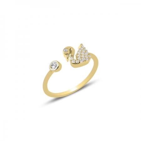 Inel reglabil din argint placat cu aur, cu zirconii albe si lebada