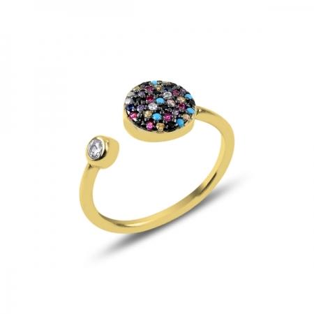 Inel reglabil din argint placat cu aur cu zirconii multicolore - Be Authentic