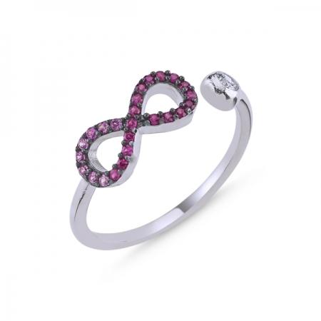Inel reglabil din argint rodiat Infinit cu zirconii roz