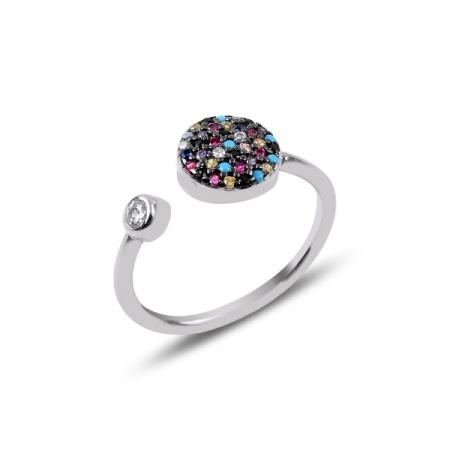 Inel reglabil din argint placat cu rodiu cu zirconii multicolore - Be Authentic