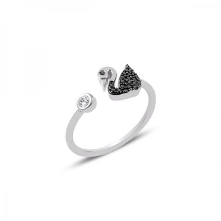 Inel reglabil din argint placat cu rodiu, cu zirconii negre si lebada